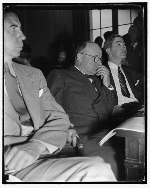 Head of Republic Steel quizzed by Senate Civil Liberties Committee. Washington, D.C., Aug. 11. Tom M. Girdler; Chairman of the Board of the Republic Steel Corp., as he appeared before the Senate Liberties Committee today, 8/11/38