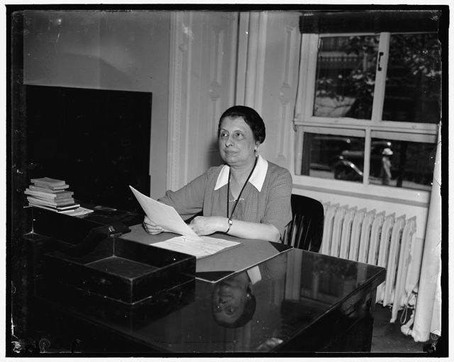 Head of U.S.Employees' Compensations Commission. Washington, D.C. June 5. Mrs. Jewell W. Swofford is the Chairman and the only woman member of the United States Employees' Compensation Commission, 6/5/37