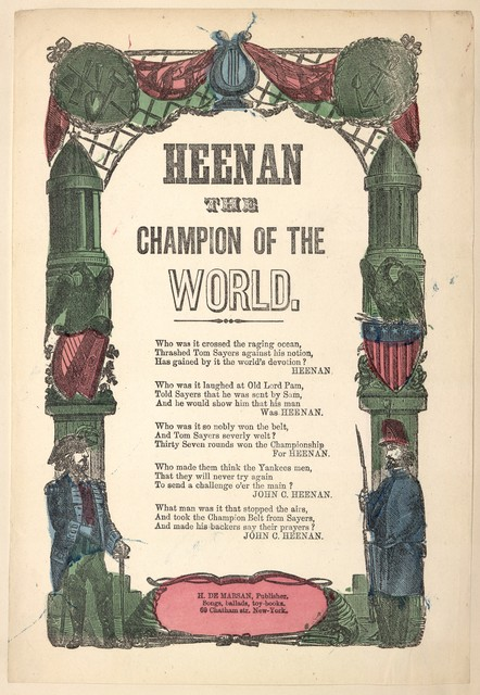 Heenan, champion of the world. Air: Red white and blue. H. De Marsan, 60 Chatham Street, N. Y