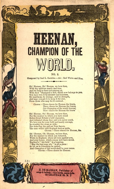 Heenan, champion of the world. Composed by Irad L. Garsides. Air: Red white & blue. H. De Marsan, Publisher, ... 60 Chatham Street, N. Y