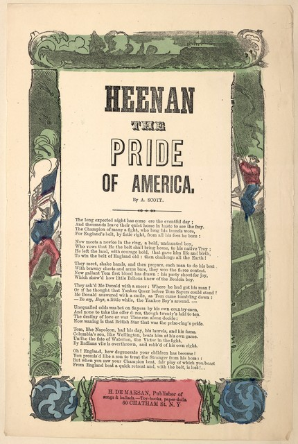 Heenan the pride of America. By A. Scott. H. De Marsan, Publisher, ... 60 Chatham Street, N. Y
