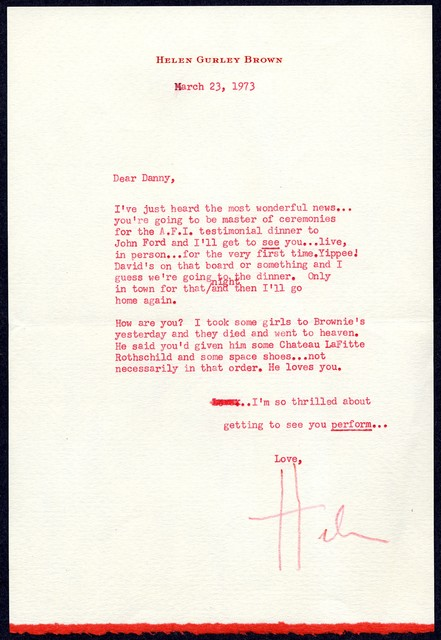 [ Helen Gurley Brown to Danny Kaye, March 23, 1973]
