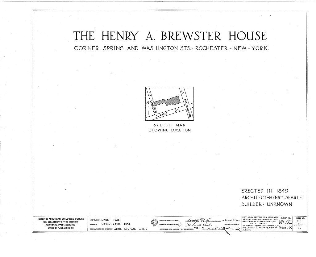 Henry A. Brewster House, Spring & Washington Streets, Northwest, Rochester, Monroe County, NY