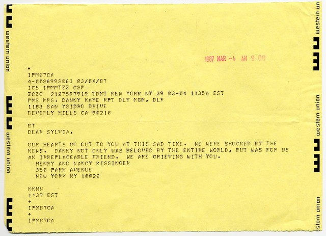 Henry and Nancy Kissinger to Sylvia Fine, March 4, 1987