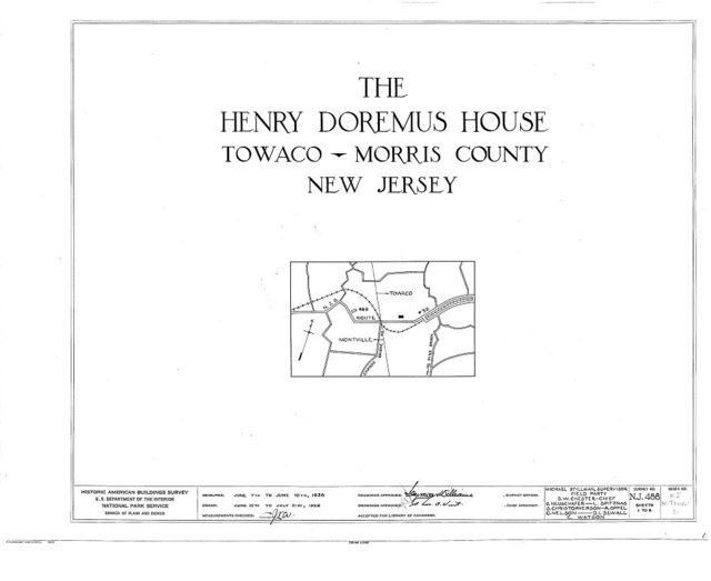 Henry Doremus House, State Route 32, Towaco, Morris County, NJ