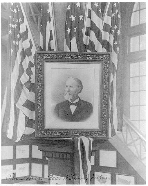 [Henry Lane Wilson, 1857-1932; photo of flag-decked framed bust portr. facing left]