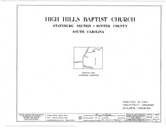 High Hills Baptist Church, Kings Highway (State Route 261), Stateburg, Sumter County, SC