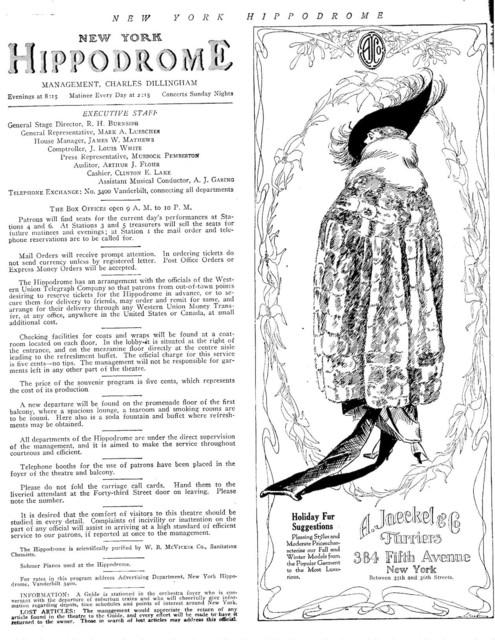 Hippodrome program for the season 1917 1918
