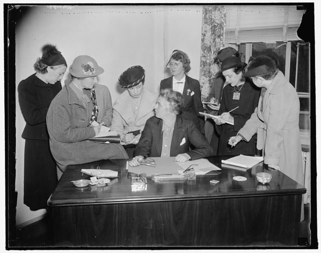 """Holds first press conference. Washington, D.C., Oct. 5. Shortly after assuming office today as Special Assistant to Chairman Hamilton in Charge of Women's Activities, Miss Marion Martin, Republican National Committeewoman from Maine, outlined to women reporters the stand of the Republican Party on current issues. """"We need something so definite and so concise that the women will think, that's what I want,"""" she said as she took over the job of organizing republican women. 10/5/37"""
