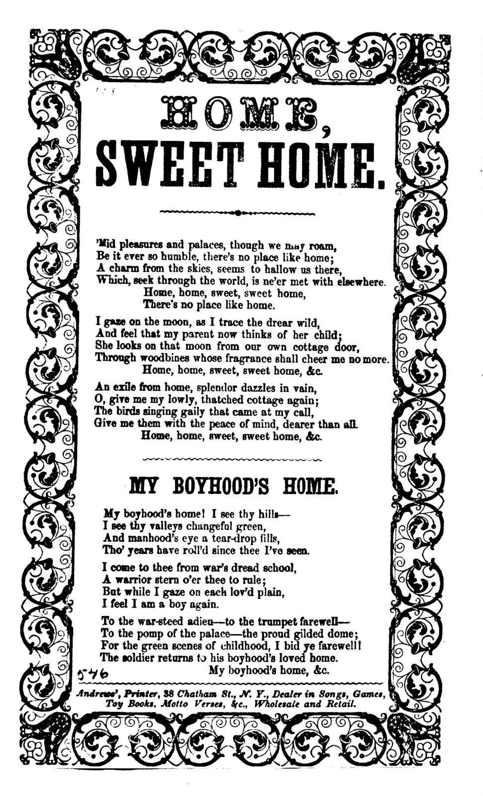 Home, sweet home. Andrews', Printer, 38 Chatham St., N.Y
