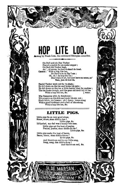 Hop lite loo. H. De Marsan, Publishers, No 54 Chatham Street, N. Y