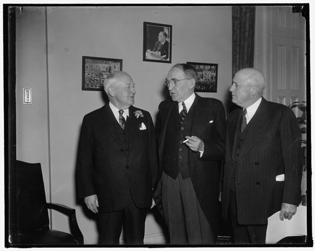 House leaders. Washington, D.C., Jan. 3. House leaders discussing last-minute details incident to the convening of the joint session of congress today to hear President Roosevelt read his message in person. Left to right: Rep. Bertrand Snell of New York, House Minority Leader; Speaker Bankhead; and Rep. Sam Rayburn of Texas, House Majority Leader, 1/3/38