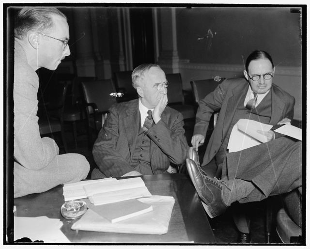 House Legislative Counsel. Washington, D.C., Feb. 18. Middleton Beaman, Legislative Counsel for the House of Representatives, pictured as he attended a recent House hearing, 2/18/38