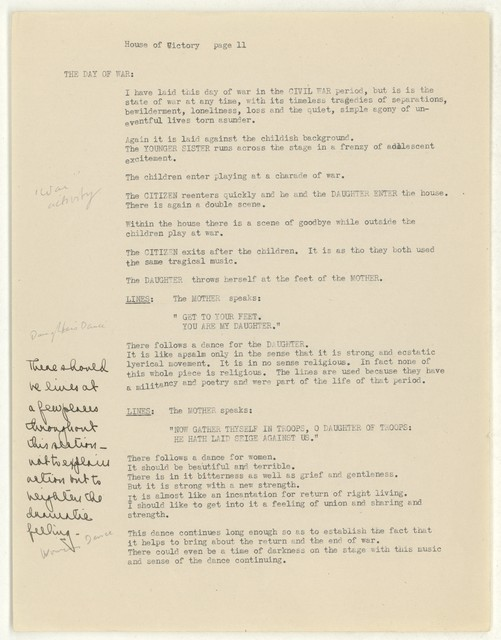 House of victory [script for Appalachian spring, 16 May 1943]