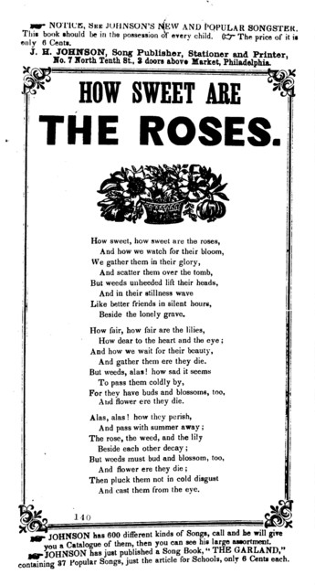 How sweet are the roses. J. H. Johnson, Song Publisher, &c., No. 7 N. 10th. Street, Phila