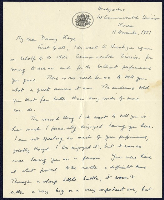 HQRA 1 Comwel Div, BAPO 3, to Special Services Mission, HQ 8th Army, [attaching three-page personal letter to Danny Kaye from Brigadier WHG Pike DSO] 1951