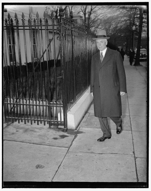 Hull receives report from Under Secretary upon return to Washington. Washington, D.C., Jan. 10. Secretary of State Cordell Hull returned to his desk in the State Department today and called in Under Secretary Sumner Welles to find out what had happened during his trip to Lima, 1/10/39