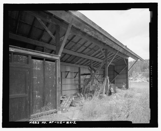 Hungry Horse Village, Three-Sided Metal Shed, Approximately 1 mile south of Highway 2 East & 1/4 mile east of Colorado Boulevard, Hungry Horse, Flathead County, MT
