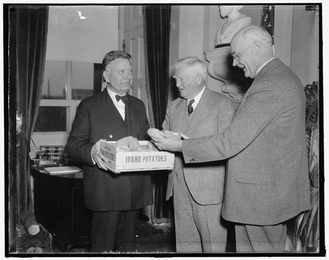 Idaho spuds presented to vice president. Washington, D.C., Dec. 6. A box of Idaho's choicest potatoes were presented today to Vice President John N. Garnger by Senators William E. Borah, (left) and James P. Pope, both from the famous potato-growing state. The presentation was the signal for challenge issued by the Maine Congressional Delegation to the Idaho Solons for a potato eating contest which will be staged in the House Restaurant tomorrow to test the relative merits of the spuds from the two states. 12/6/37