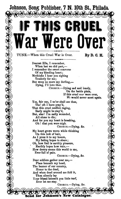 If this cruel war were over. Tune. - When this cruel war is over. Johnson, song Publisher, Phila