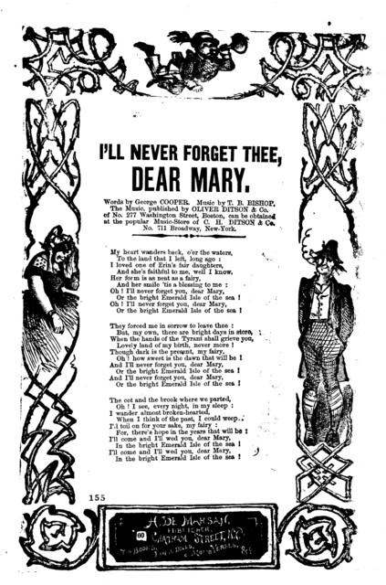 I'll never forget thee, dear Mary. By George Cooper. H. De Marsan, Publisher, 60 Chatham Street, N. Y