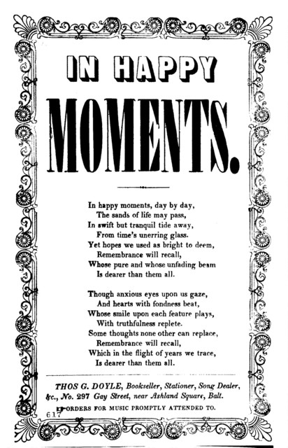 In happy moments. Thos. G. Doyle, Bookseller, Stationer, Song Dealer, &c., No. 297 Gay Street, near Ashland Square, Balt