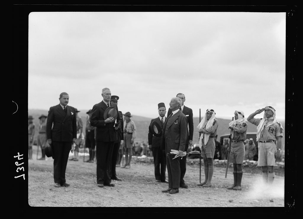 Inauguration of the Palestine Broadcasting Service. March 30 -1[936]. H.E. (i.e., His Excellency), etc. at attention for national anthem [Ramallah]