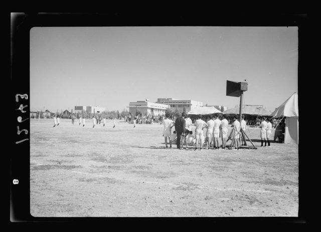 Inter-District physical training competition, etc. at Arab College, Jerusa. [i.e., Jerusalem]. General view of sports ground during exercises