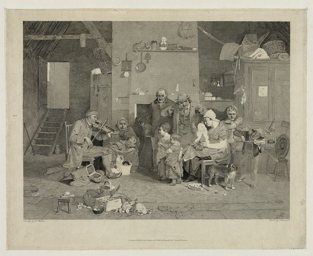 [Interior scene with family gathered around man playing fiddle]