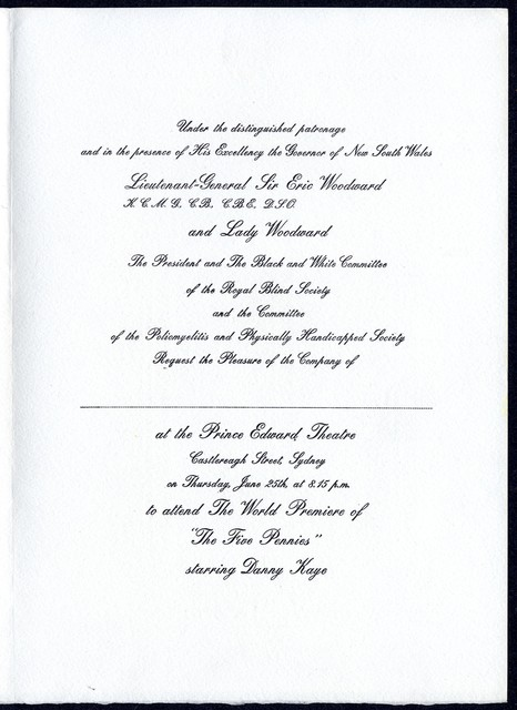 "[ Invitation to ""The Five Pennies"" under the patronage of Sir Eric and Lady Woodward, includes R.S.V.P form for donation to the Royal Blind Society]"