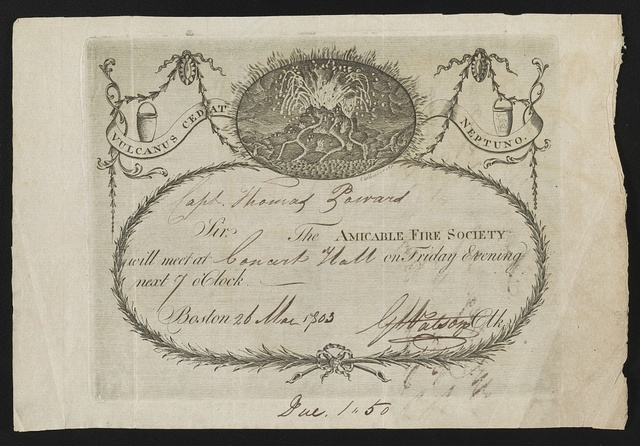 Invitation to Thomas Zoward from the Amicable Fire Society