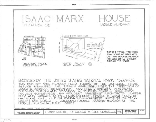Isaac Marx House, 113 Church Street (moved to 307 University Boulevard), Mobile, Mobile County, AL