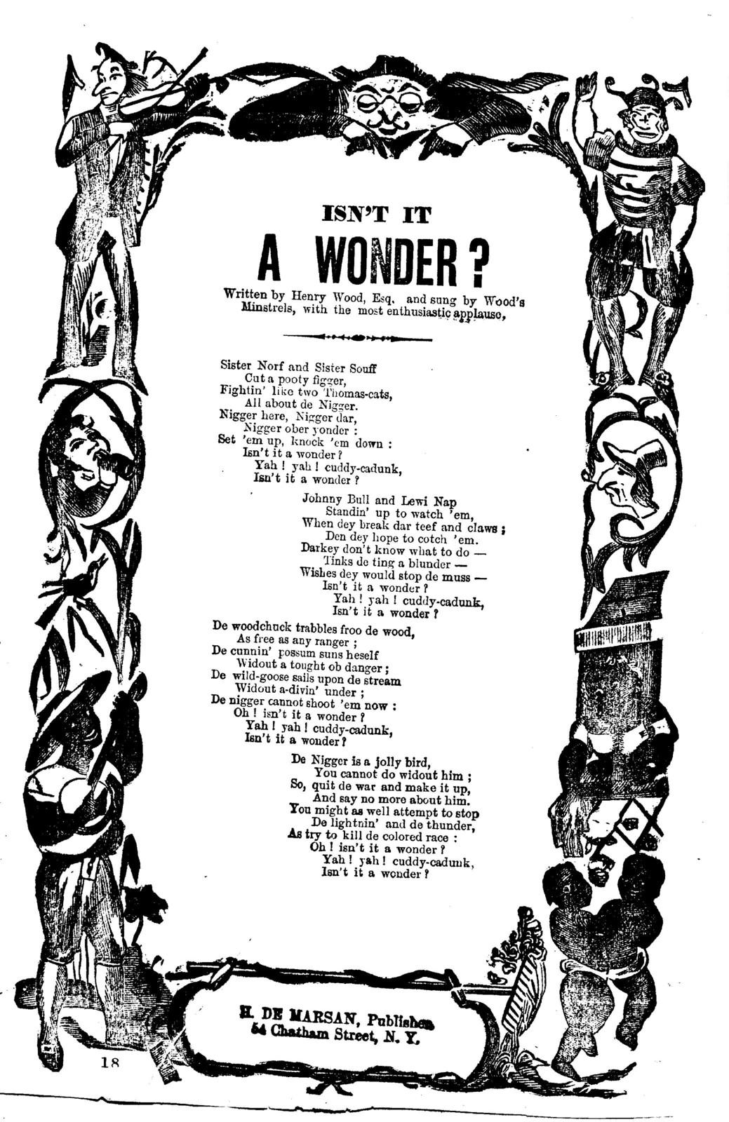 Isn't it a wonder? H. De Marsan, Publisher. No. 54 Chatham Street, N. Y. Publisher. No. 54 Chatham Street, N. Y