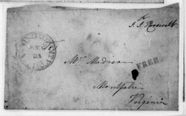 J. J. Roosevelt to Dolley Payne Madison. Envelope. Postmarked Dec. 21.