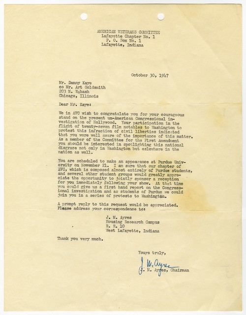 [ J. M. Ayres, Chairman of the American Veterans Committee to Danny Kaye, October 30, 1947]