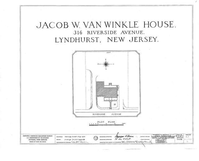 Jacob W. Van Winkle House, 316 Riverside Avenue, Lyndhurst, Bergen County, NJ