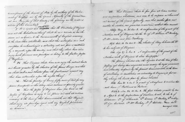 James Madison. Notes on Virginia Charters. Includes copy.