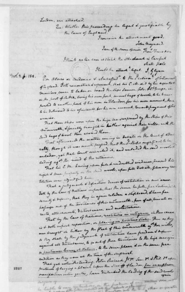 James Madison. Notes - Right of Reprisal.