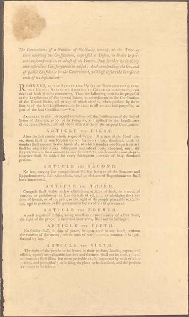 James Madison's copy of the Bill of Rights