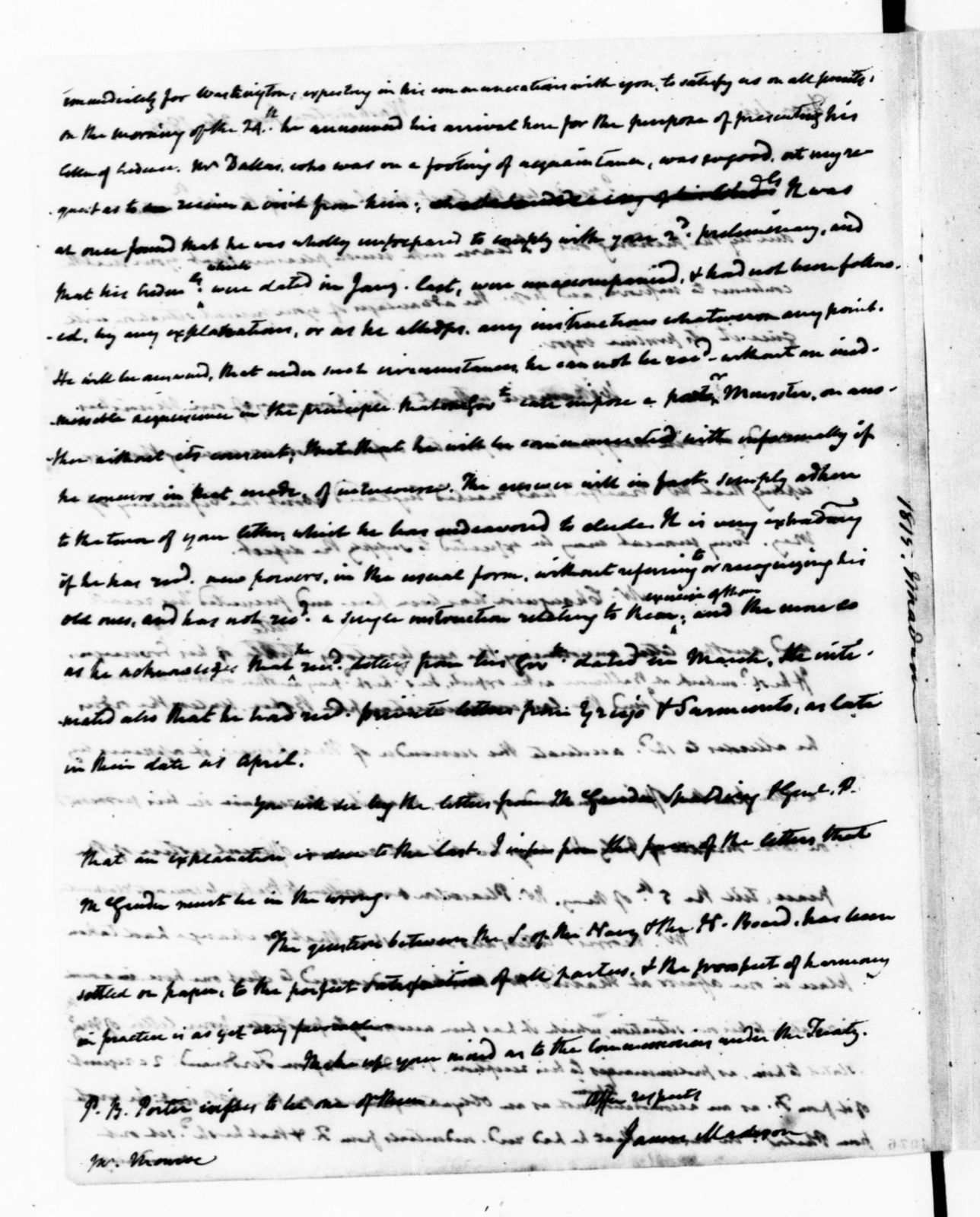 James Monroe Papers: Series 1, General Correspondence, 1758-1839; 1815 Mar. 17-1818 June 3 (Reel 6)