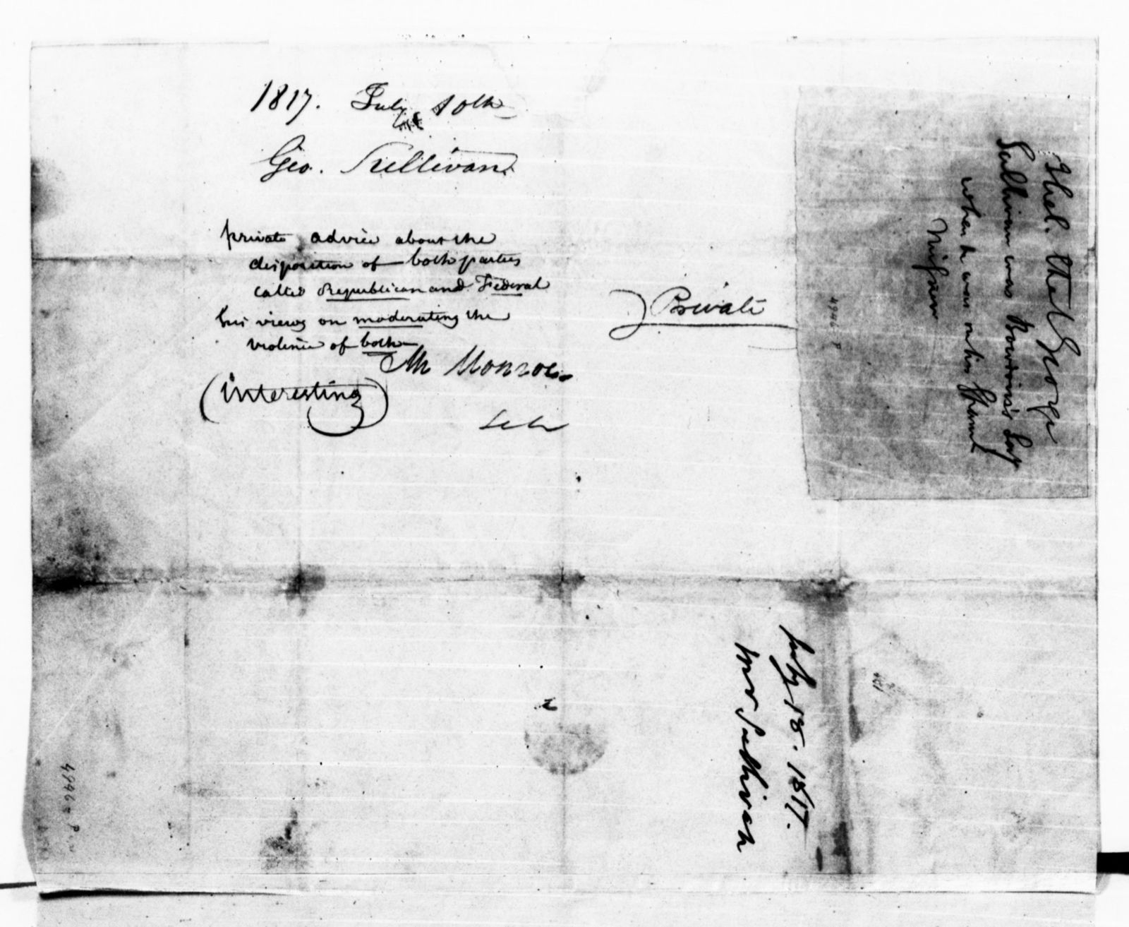 James Monroe Papers: Series 1, General Correspondence, 1758-1839; 1815 Mar. 17-1818 June 3 (Reel 6)