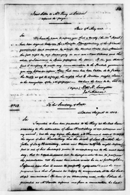 James Monroe Papers: Series 3, Letterbooks and Account Book, 1794-1806; Vol. 1; 1803 Apr. 9-1804 June 25 (Reel 10)