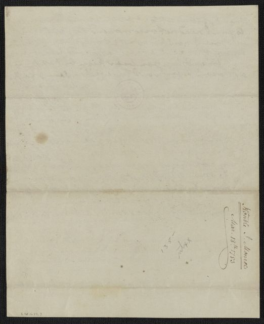 James Monroe Papers: Series 4, Addenda, 1778-1831; 1979-1985 additions; Part A, originals; Correspondence and miscellany; 1783 Mar. 8-1797 Nov. 28