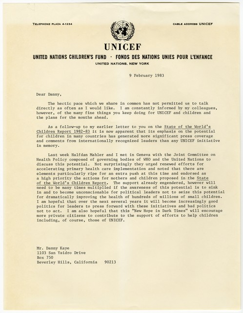 [ James P. Grant, director, UNICEF, to Danny Kaye, February 9, 1983]