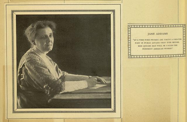 Jane Addams, photomechanical print and caption