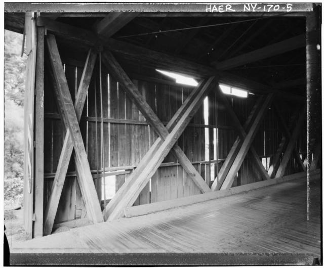 Jay Covered Bridge, Count Route 22, spans East Branch of AuSable River, Jay, Essex County, NY