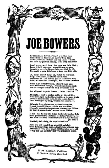 Joe Bowers. H. De Marsan, Publisher, 60 Chatham Street, N. Y