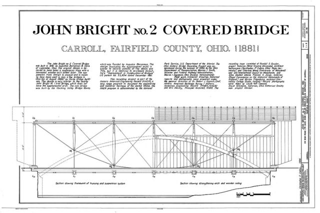 John Bright No. 2 Covered Bridge, Bish Road (Township Route 263) over Poplar Creek, Carroll, Fairfield County, OH