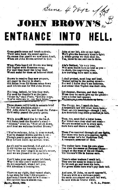 John Brown's entrance into hell. C. T. A. Printer. Balt. March, 1863