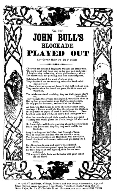 John Bull's blockade played out. Air--Lovely Molly O!--By F. Collins. J. Wrigley, publisher, New York